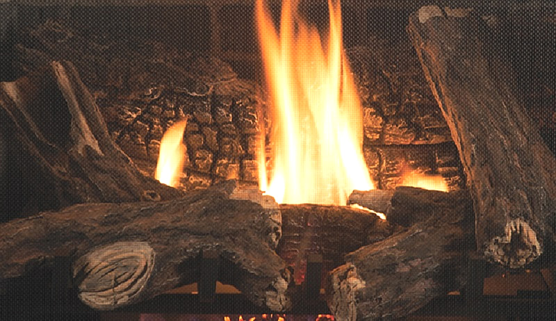Charred Oak Logs and Natural Looking Flames
